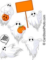 Set of cute ghosts for design isolated on background