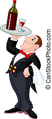 Cartoon waiter - Illustration of cartoon waiter serving a...