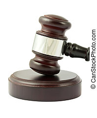 Gavel closeup on white background - Wooden brown gavel...