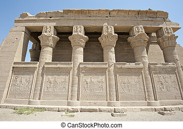 Remains of an ancient egyptian temple with columns and...