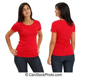 il portare, femmina, camicia, rosso, vuoto