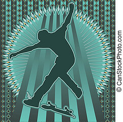 Vintage background skateboarder - Vintage background design...