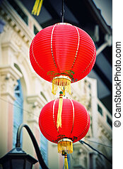 chinatown - detail of classic red lantern in chinatown,...