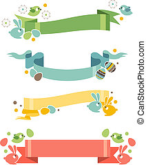 Four floral easter banners with eggs and rabbits