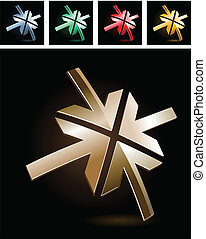 Abstract symbol with four metal reflected arrows