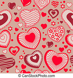 Seamless white background with different contour hearts