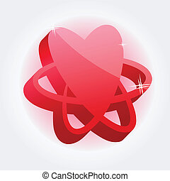 Modern red heart - abstract symbol isolated