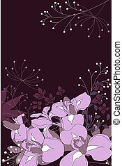 Dark floral background with contour irises and plants
