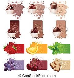 jogo, diferente, coloridos, bordas, doces, frutas