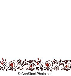Seamless horizontal border with stylized pretty flowers
