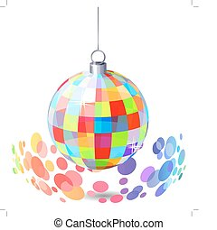 Hanging mirror ball isolated on white background