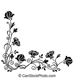 Floral swirl branch - Stylized black and white floral swirl...