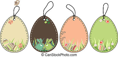 Easter tags - Collection of four different decorative,easter...