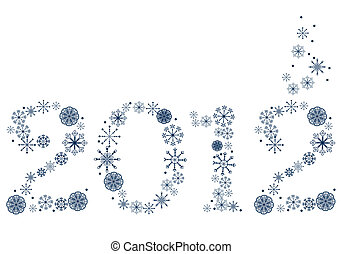2012 made of blue snowflakes - New year 2012 made of blue...