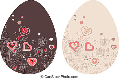 Easter eggs with hearts