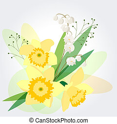 Background with yellow daffodils