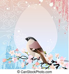 Greeting easter card wirh sparrow on blossoming branch