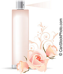 Perfume container - Transparent pink perfume container and...