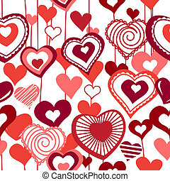 Seamless pattern with hearts - Seamless white background...