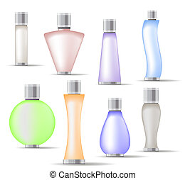Set of fragrance bottles isolated on white background