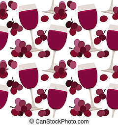 Seamless pattern with wine glasses and grape