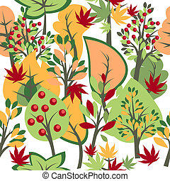 Seamless pattern with autumn trees and bushes
