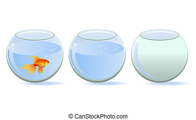 Three aquariums - One aquarium with fish, one with water and...