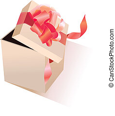 Open giftbox - Open realistic giftbox with red silk bow