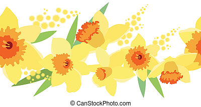 Seamless border with daffodils - Seamless horizontal spring...