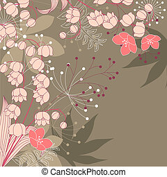 Brown floral background with contour flowers and plants