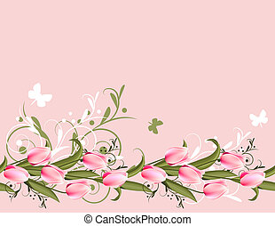 Horizontal pink spring background with tulips and flourishes