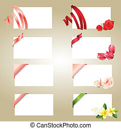 Set of blank white cards with ribbons and flowers