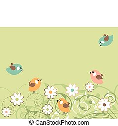 Stylized blossoming branches and small flying birds