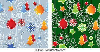 Seamless Christmas pattern. Two variants of color