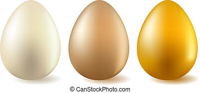 Three realistic eggs - white,beige and gold one.