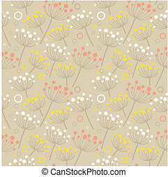 Seamless pastel floral pattern with beige herbs