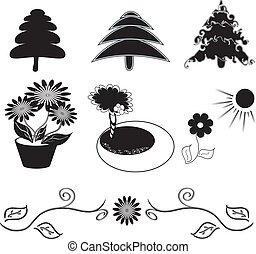 silhouettes set, elements for your graphic design