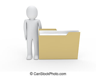 3d man folder yellow document human fole