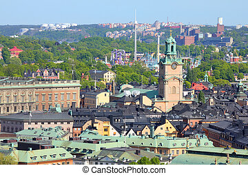 Stockholm, Sweden View of famous Gamla Stan the Old Town,...