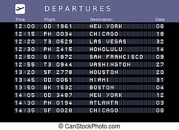 Airport timetable - Departure board - destination airports....