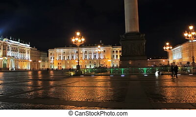 Night at the Palace Square near the Winter Palace, Saint...