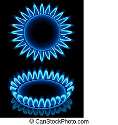 Gas - Vector illustration - blue gas flames