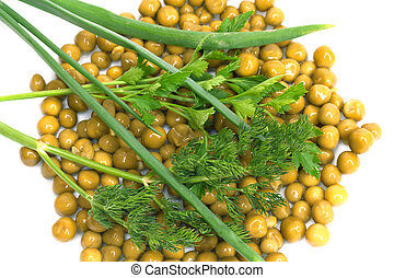green peas, parsley, dill, onions on a white background