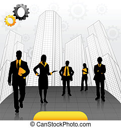 Business People - illustration of business people standing...