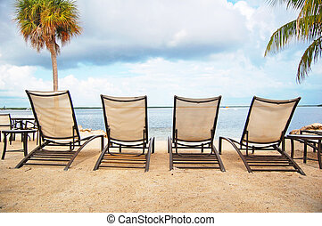 beach lounger  - four loungers line the beach front