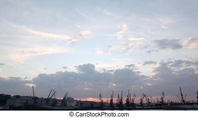 shot during sunset. Odessa, Ukraine - Silhouette of several...