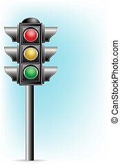 Traffic Signal - illustration of traffic signal on pole on...