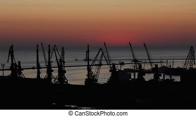 sunrise in the harbor of Odessa, Ukraine