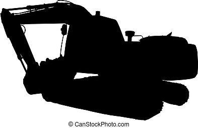 construction mechanical digger excavator silhouette -...