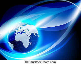 world globe over abstract blue background